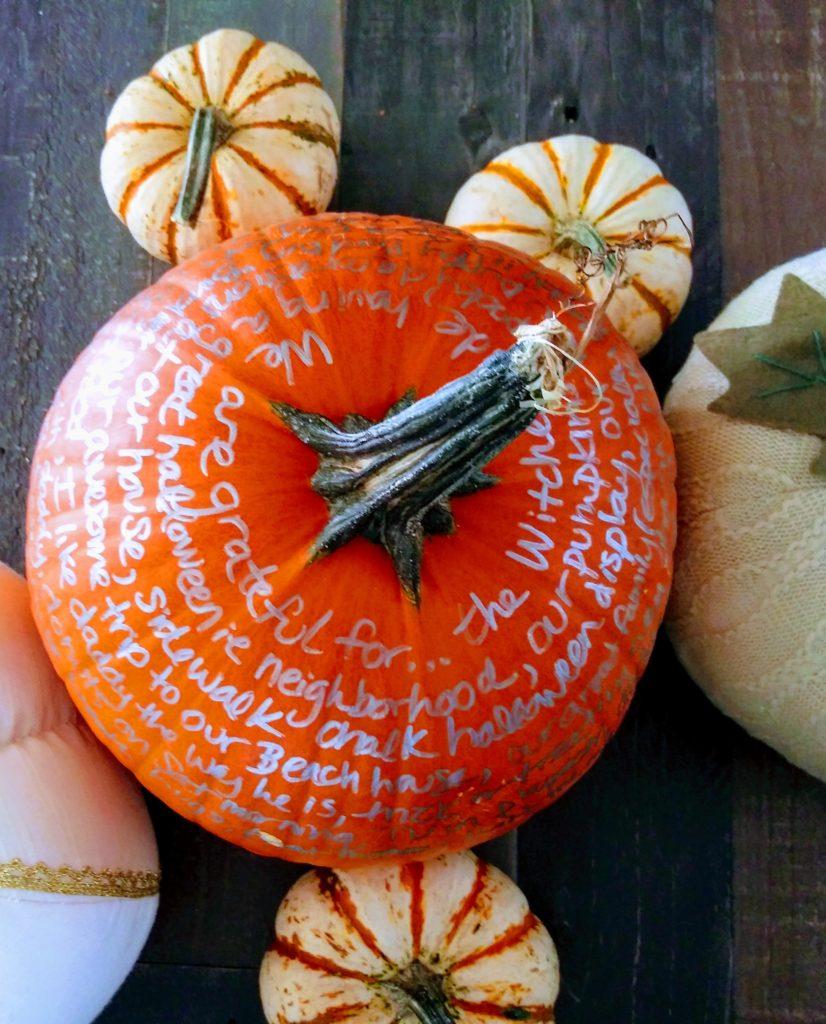 Gratitude Pumpkin - Thankful Pumpkin - DIY Thanksgiving Centerpiece