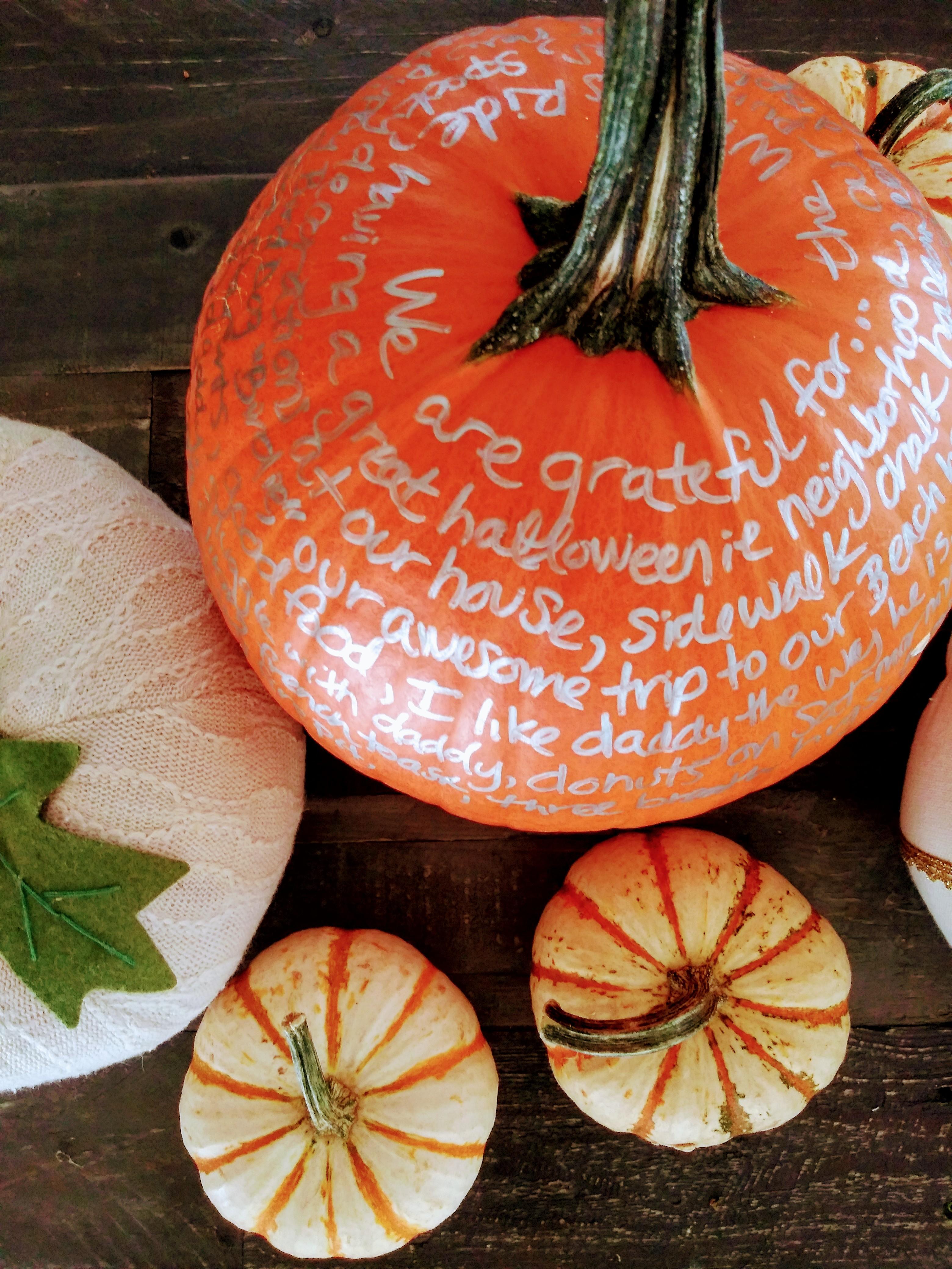 Pumpkins - DIY Centerpiece Fall Gratitude Pumpkin