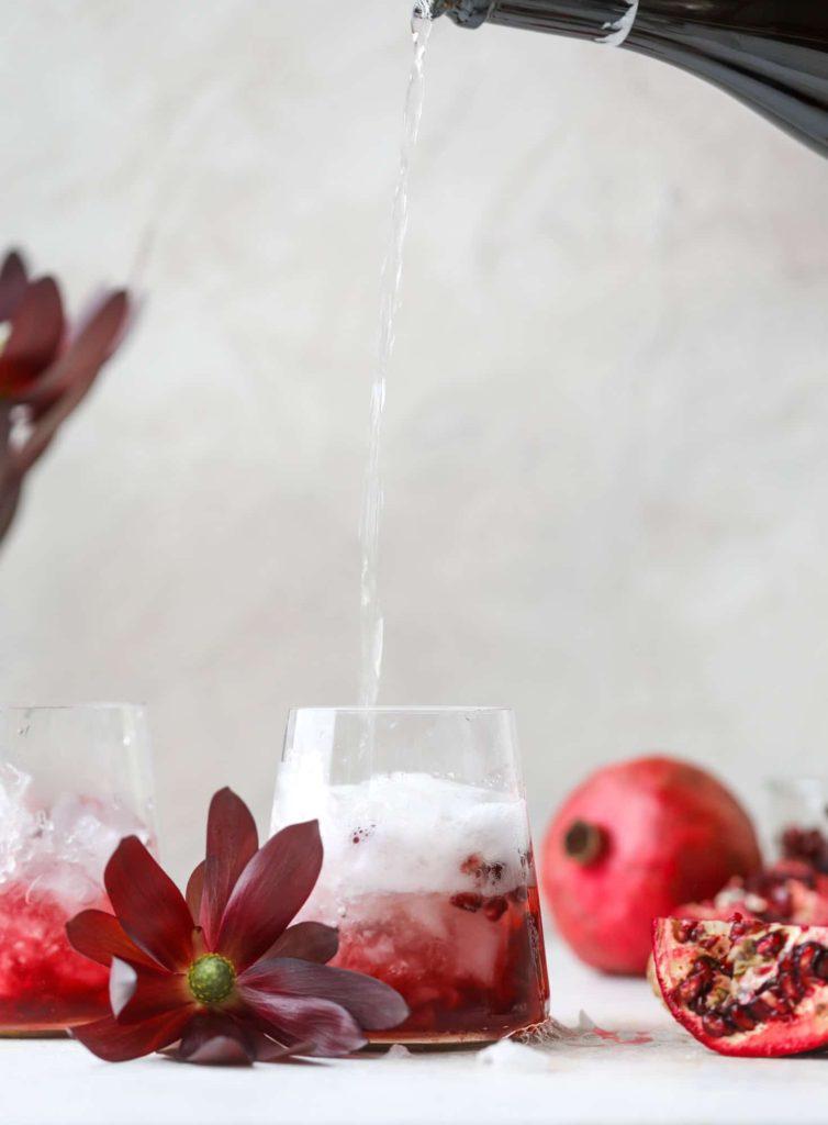 Pomegranate Prosecco Smash Cocktail