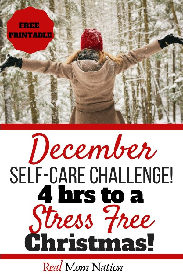 Pinterest Image - Woman in Snow - December Self Care Challenge