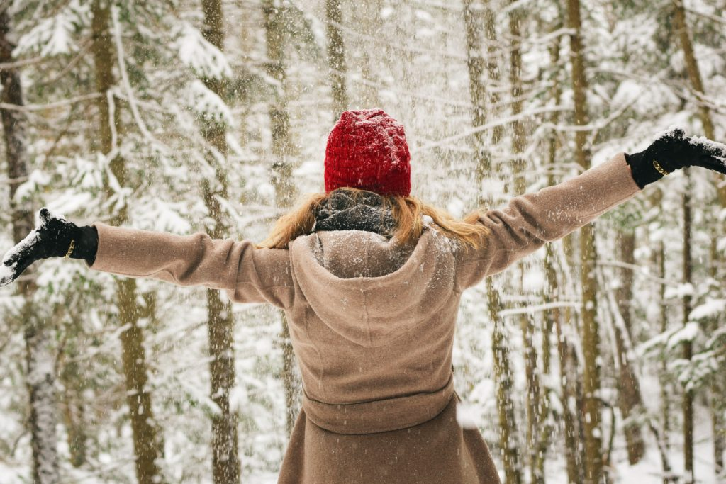 Woman in Snow - Christmas Self-Care Challenge