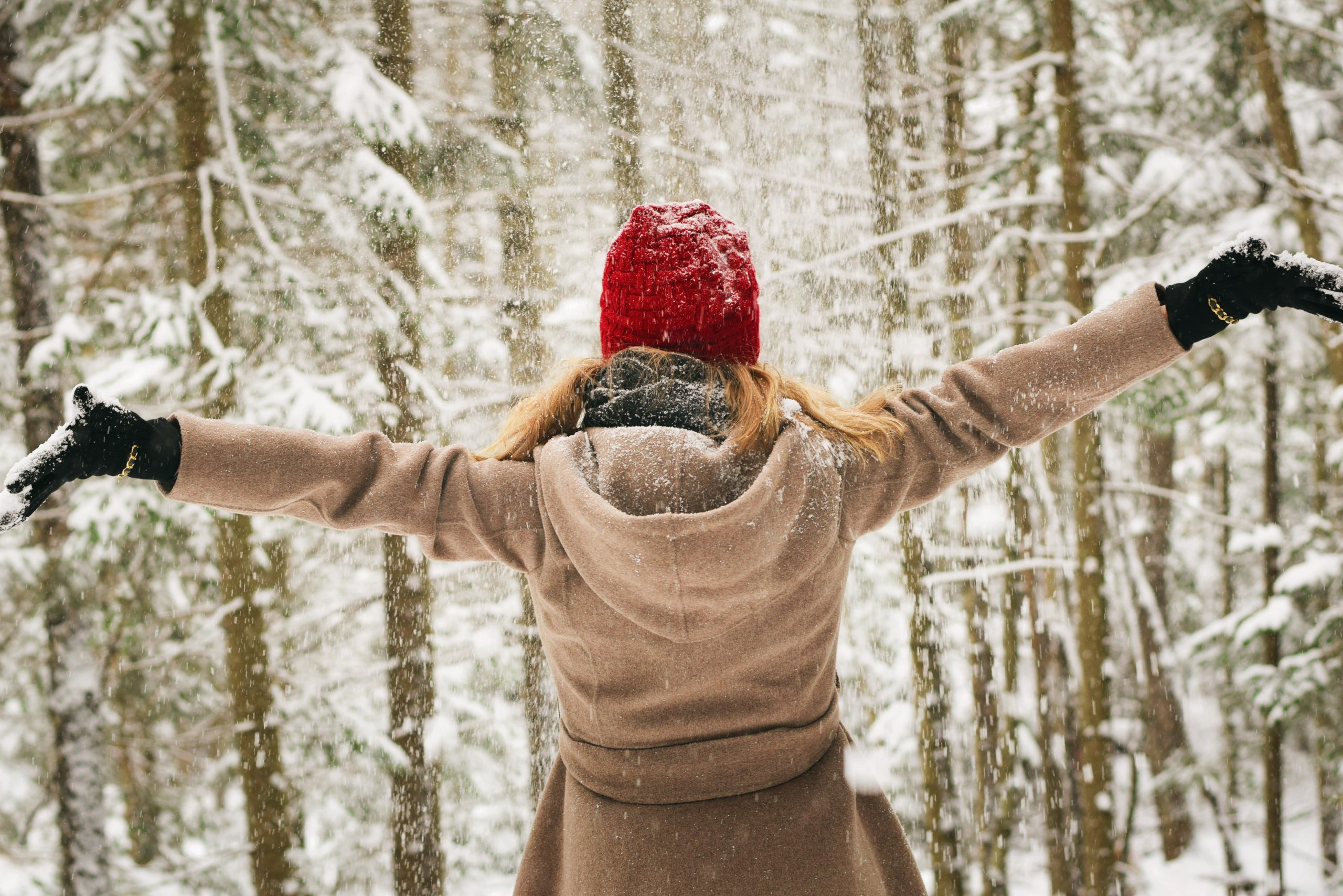 Woman in Snow - December Self-Care Challenge