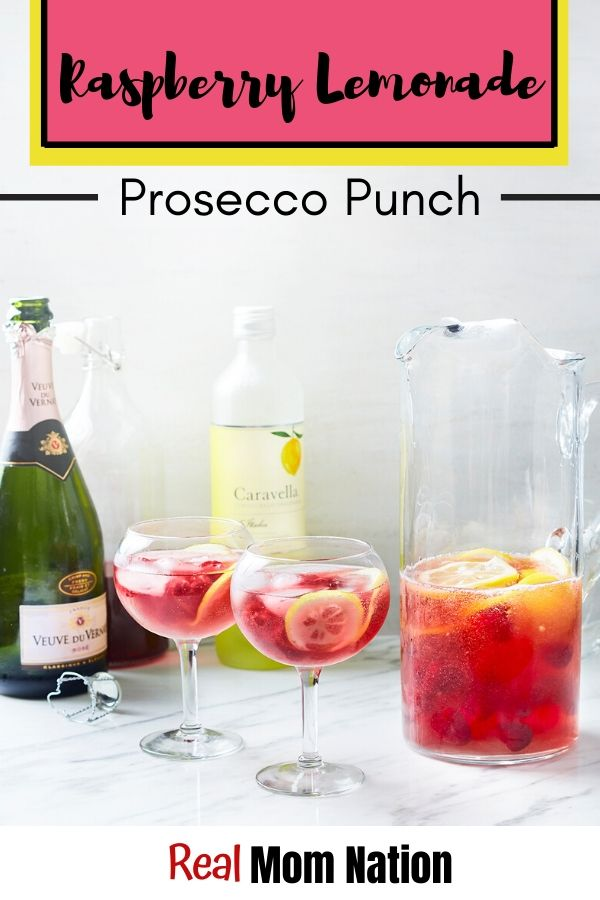 Raspberry Lemonade Prosecco Punch - Rose Prosecco Summertime Cocktail