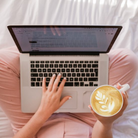 Woman Computer and coffee - SAHM Weekly Schedule